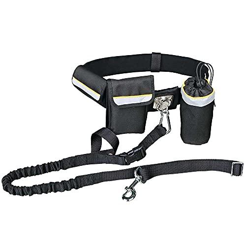 TRIXIE Cinturón con Correa, Manos libres, Para Canicross, 1-1.35 m, Hasta 40 kg, Negro, Perro