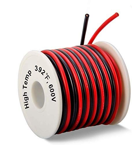 WOWOSS 20m Super Soft Silicone Wire 16AWG High Temp Resistant Tinned Copper Wire with 10m Red and 10m Black Stranded Electronics Wire for 3D Printer, Test Leads,RC Applications etc