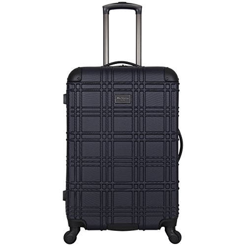 Ben Sherman Nottingham Lightweight Hardside 4-Wheel Spinner Travel Luggage, Navy, 24-inch Checked