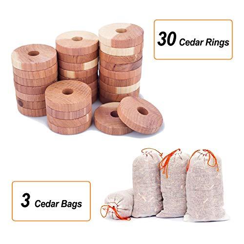 SMLHOME Zedernholzblöcke für Kleidungsaufbewahrung, Zedernbälle und Beutel, Zedernholzspäne für Schränke und Schubladen, Zedernholzbügel für Schrank Cedar 30rings+3bags