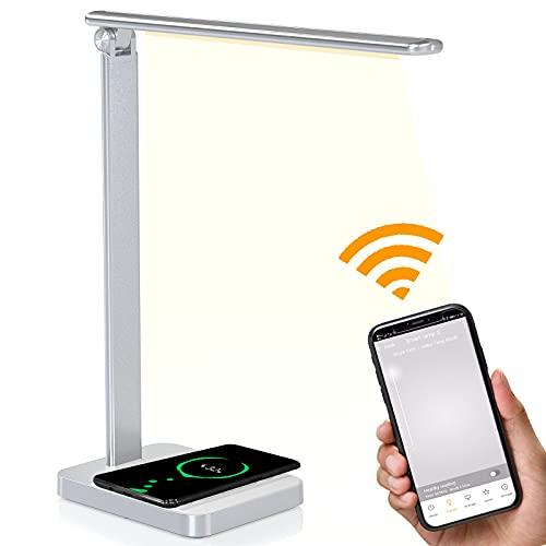 Lámpara Escritorio LED,Flexo de Escritorio con Alexa Googel Home,Conexión WiFi,control por voz,control táctil,6 niveles de brillo,3 modos, carga inalámbrica,puerto de carga USB [Clase energética A++]