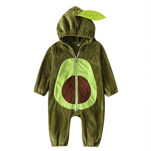 Yibaision Unisex Baby Hooded Obst Strampler Avocado Form Design Flanell Langarm Pyjamas - Infant Pyjamas Winter Cosplay Overall Outfit