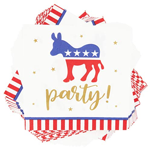 Democratic Party Election Cocktail Napkins (6.5 in, 100 Pack)
