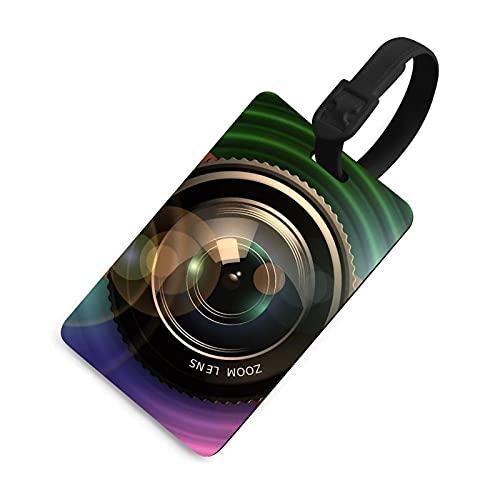 Etiqueta de equipaje duradera para hombre, etiquetas identificadoras de bolsa con cubierta de privacidad, accesorios de etiqueta de viaje para maleta/aviones/mochilas- lente cámara fotógrafo foto