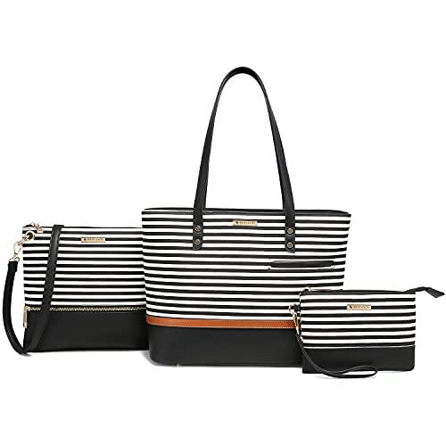 Handbags for Women Crossbody Tote Shoulder Bag Purse Set 3pcs Satchel Messenger Top Handle Fashion (Stripes)