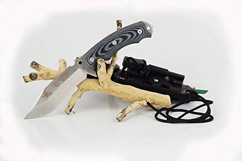 CUDEMAN 124-M. Cuchillo de supervivencia. Modelo Jjsk1. Mango de Micarta negra. Acero BÖHLER N-695 59/61 HRc. Longitud de la hoja 23,5 cm. Incluye funda de cuero