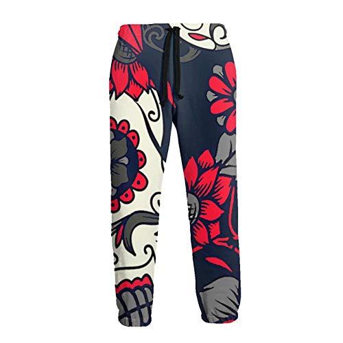 Lewiuzr Pantalón de chándal de Calavera de azúcar Floral Rojo para Hombre Pantalones de chándal de Lana de Moda con cordón y Bolsillos