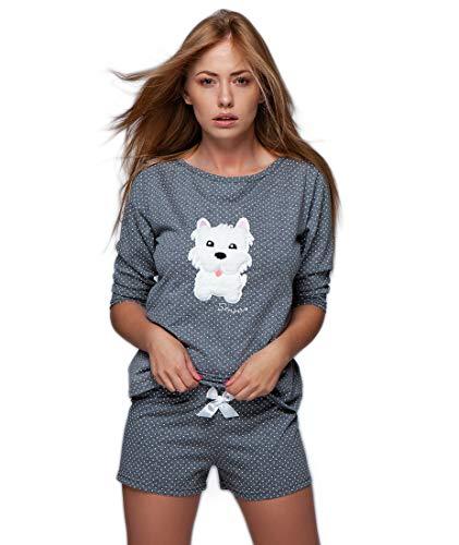 S& SENSIS edles Nachtwäsche-Set (Made in EU) aus trendigem Baumwoll-Shirt und koketten Shorts oder Langer Hose in angesagtem Design, Gr. 38, Dunkelgrau mit Hund