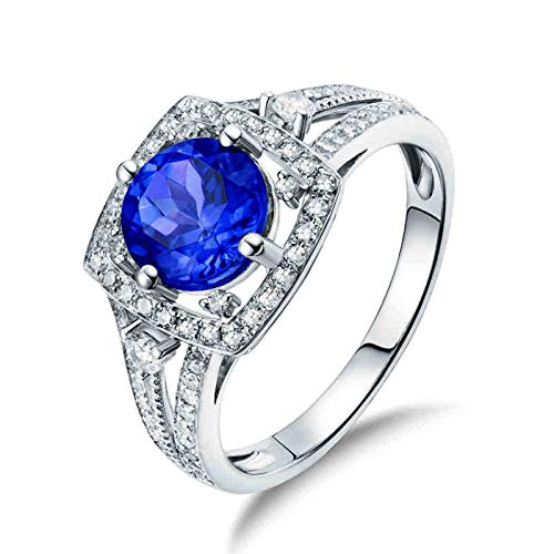 Beydodo Anillos Mujer 18K,Anillo de Oro Blanco 18K Mujer Plata Azul Cuadrado con Redondo Tanzanita Azul 1.53ct Diamante 0.36ct Talla 17(Circuferencia 57MM)