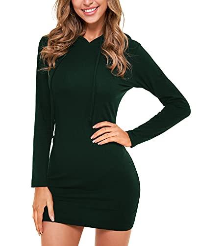 QUALFORT Women's Hoodie Dress Slim Fit Casual Pullover Hooded Dresss Blue Medium