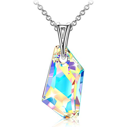 Sellot Necklace for Women Crystals from Swarovski 925 Sterling Silver Chain Personalised Gifts for Her Irregular Crystal Necklace Birthday Gifts for Women Mum with Jewellery Boxes