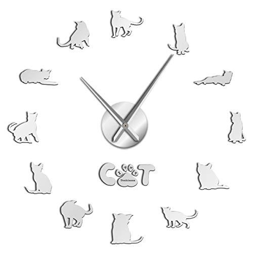 Reloj de pared moderno Tonkinese Cats Breed Reloj de pared silencioso Animales Kitty Pet Autoadhesivo Diy Reloj 3D Reloj de cuarzo Reloj de cuarzo Funciona con pilas Para el hogar Oficina Escuela