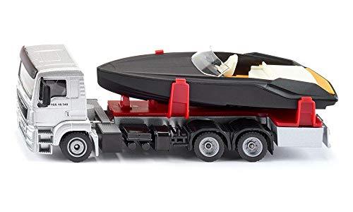SIKU 2715, LKW mit Motorboot, 1:50, Metall/Kunststoff, Silber/Schwarz, Schwimmfähiges Spielzeugboot