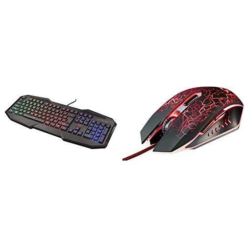 Trust gaming gxt 830-rw avonn tastiera da gioco illuminata, nero [layout italiano] & gaming 21683 gxt 105 mouse da gioco con 6 pulsanti, cablato, nero