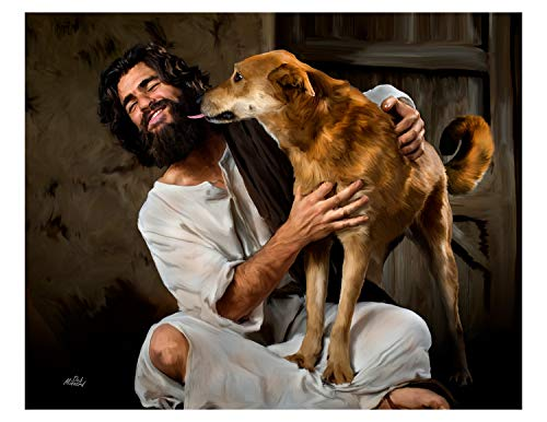 """Deb Minnard """"Jesus Face Licked"""" by Award Winning Artist, Will Bring a Smile of Joy to You and Your Family and Friends. This 8x10, Print Will Last a Lifetime. Great Collectors Item."""