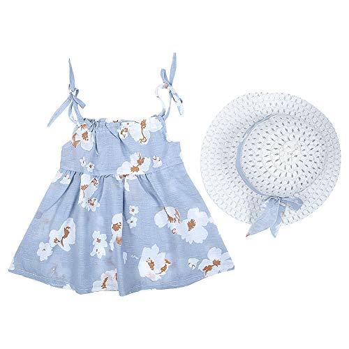 Baby meisjes zomerjurk outfits ruches rok zuigeling tule zomerjurk kleine kinderen beachwear kleding met hoed 90 lichtblauw