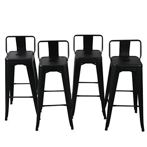 BELLEZE 30-inch Barstools Bar Stools Low Back (Set of 4) Black