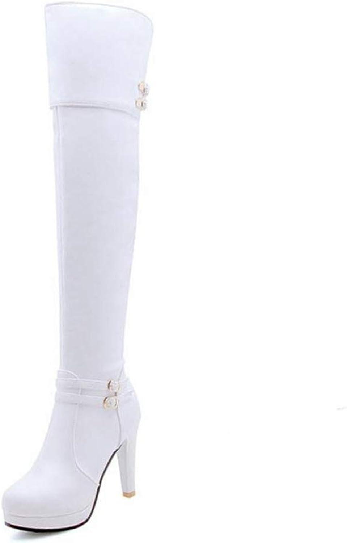 T-JULY Fashion Winter Women Thigh High Heels Boots Warm Fur Platform Long Sexy shoes