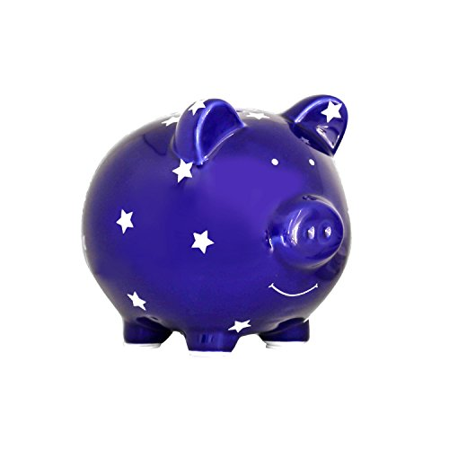 Pearhead Ceramic Piggy Bank, Coin Bank, Nursery Decor, Baby Boy Gifts, Baby Birthday Gifts, Navy Blue with Stars