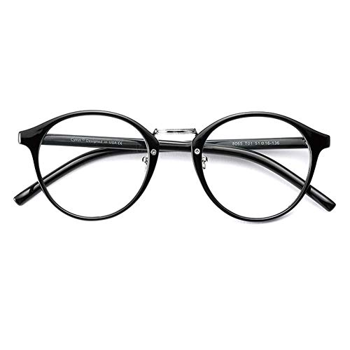 Cyxus Blaulichtfilter Brille Ohne Stärke, Bluelight Filter, Anti UV400 Blueblocker Computerbrille PC Brillen(Schwarz)