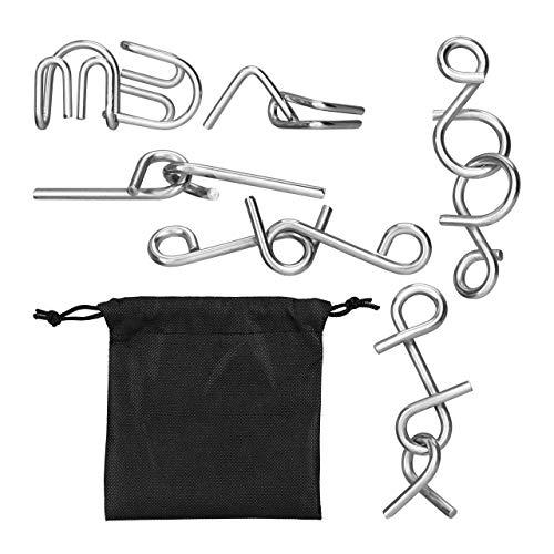 relaxdays Rompecabezas Metal, Kit 6 Juegos Ingenio para Niños Y Adultos, Bolsa de Tela Incluida, Plateado-Negro, Color, Talla Única (10024161)