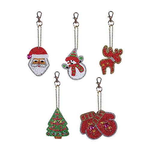 AchidistviQ 5 Stück DIY Diamant Gemälde Weihnachtsmann Elch Baum Schlüsselanhänger, Taschen-Anhänger Weihnachten DIY Point Bohrer Schlüsselring Anhänger Mehrfarbig