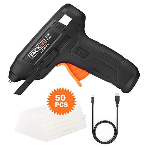 Heißklebepistole, kabellos, mit 50 Klebestiften, Tacklife 3,6 V, wiederaufladbar, mit USB-Ladekabel, separatem Stopp, zum Basteln und Reparaturset