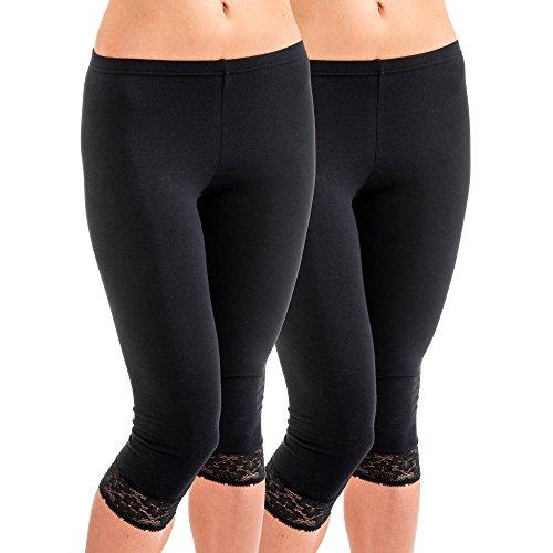 HERMKO 5722 2er Pack Damen 3/4-Leggings mit Spitze, Farbe:schwarz, Größe:40/42 (M)