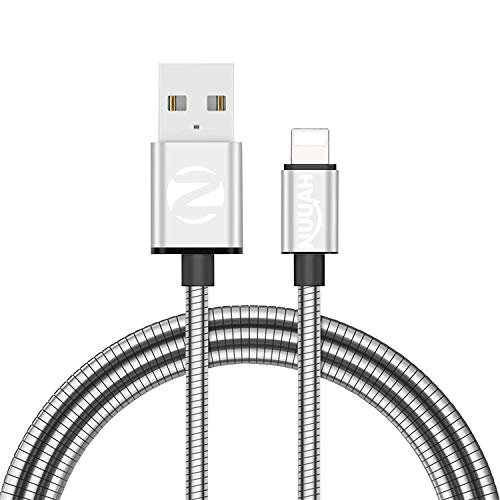 NUUAH Metallic Metal Braided Made in India cable compatible with iPhone 11/11Pro/Pro Max/X/XR/XS/XS Max/8/8 Plus/7/7 Plus and More, 2.4A Fast charging and 480MBPS Data transmission 3.3 feet (1 meter)