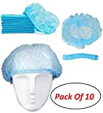 Envilean {Pack of 10} Disposable Non-Woven Anti Dust Caps Bouffant Hair Net Caps Hygienic Hair Head Cover Surgical Sterile Caps for Hospital Home for All Men & Women