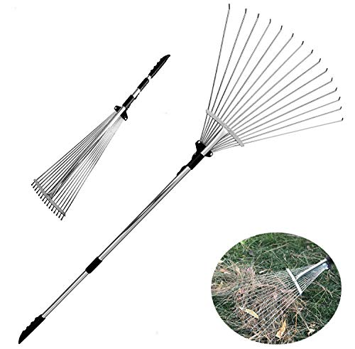Old Tjikko Garden Leaf Rake,Grass Rake for Lawn,Adjustable Lawn Grass Rake for Grass Cleaning Fallen Leaves Weeds,34 to 63-Inch Adjustable Gardening Tools (160cm)