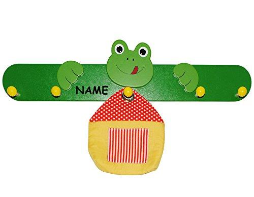 alles-meine.de GmbH Kindergarderobe - Frosch mit Aufbewahrungstasche incl. Name - für Kinder mit 5 Haken - Garderobenleiste Wandhaken Kinderzimmer Garderobe Kleiderhaken / Wandga..