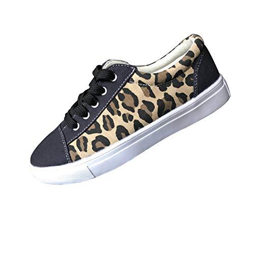 Chaussures De Toile Baskets Basses Femme Mode Pas Cher LéOpard Sneakers Plates Round Toe Chaussure De Course pour Fille