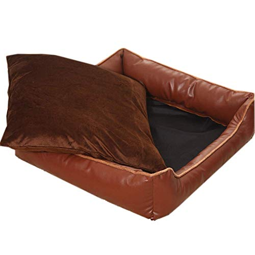 IAOHUO Deluxe Dog Bed,Soft Pet Bed Comfortable Pet Sofa Waterproof PU Kennel Cushion Washable Pet Supplies Pet Nest,3 Sizes (Color : Brown, Size : L(65x65x15cm))