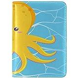 Netter Oktopus auf Wasserhintergrund Echtes Leder UAS Passhalter Abdeckung Reisekoffer