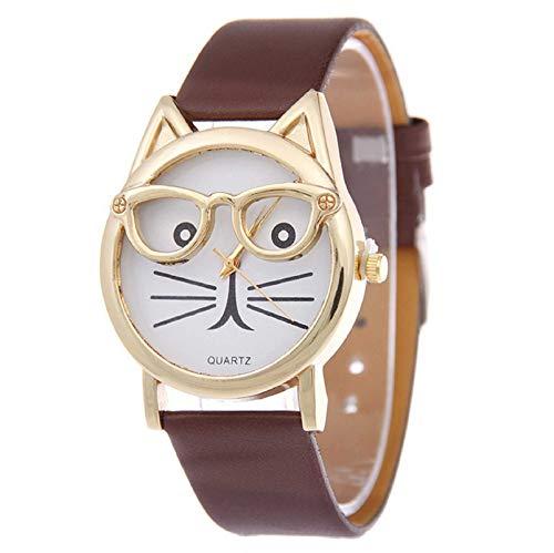 Liquidazione a buon mercato, Fittingran Orologio gatto tridimensionale occhio gatto orecchio cintura da donna guardare studentessa moda occhio gatto quarzo orologio (Caffè)