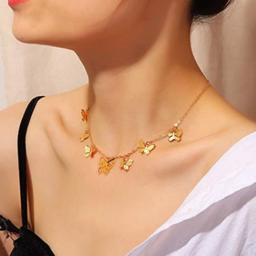 Ubright - Gargantilla simple con colgante de mariposa para mujeres y niñas (oro)