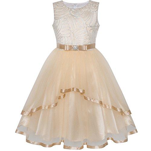 Vestido para niña Flor Beige Boda Fiesta Dama de Honor 10 años