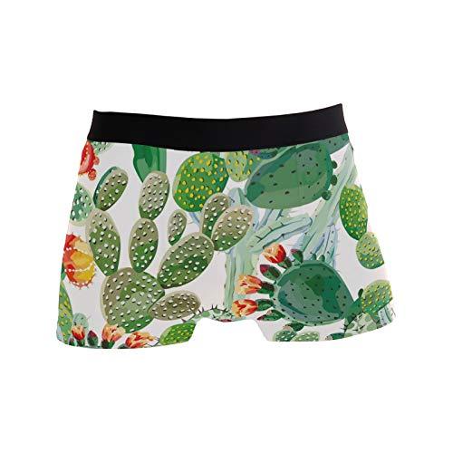 Linomo Herren Boxershorts Tropisch Grün Kaktus Unterhosen Männer Herren Unterwäsche für Männer