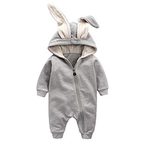 Odziezet Baby Overall Langarm Baumwolle Strampler Hase Ohren Kapuzenpullover Romper Jumpsuit Herbst Spielanzug 1-18 Monate