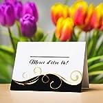 Partycards Marque Place pour Mariage, Baptême, Anniversaire, Noel | Porte Nom de Table en Papier - 50 Cartes Porte Prénom, A7 (Modèle :Vagues,Or Noir) #3