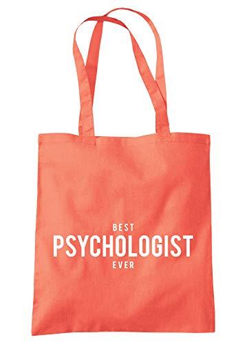 illustratedidentity Best Psychologist Ever Tragetasche 37,5 x 42 cm mit langen Griffen, Pink - korallenrot - Größe: Einheitsgröße