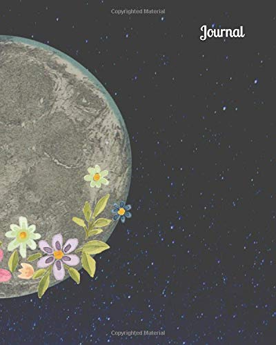 Moon Galaxy Flowers Blank Lined Journal