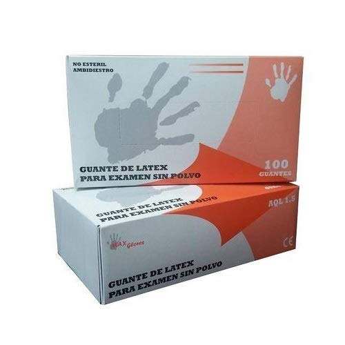 Guantes de Latex Natural Clorinado Sin Polvo Max Gloves - Color Natural - Talla S - 100 unidades