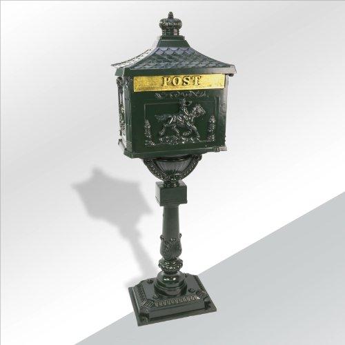 TronicXL Design Briefkasten Mail Box mit Ständer Standbriefkasten Designer Shabby Shic Chic Design Antik Retro grün Alu Guss