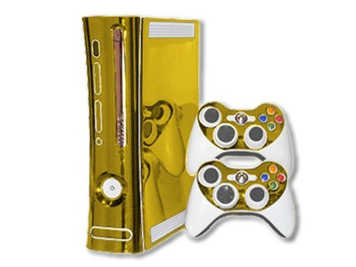 Gold Chrome Mirror Vinyl Decal Faceplate Mod Skin Kit for Microsoft Xbox 360 Console by System Skins