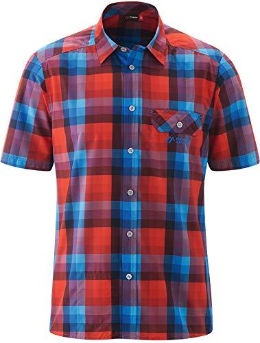 Maier Sports Lorensis Chemise Manches Courtes Homme, Red/Blue Check Modèle DE 50 2020 T-Shirt Manches Courtes