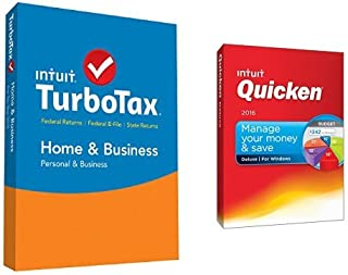 TurboTax Home & Business 2015 Federal + State Taxes + Fed Efile Tax Preparation Software PC/Mac Disc with Quicken Deluxe 2016 PC Disc