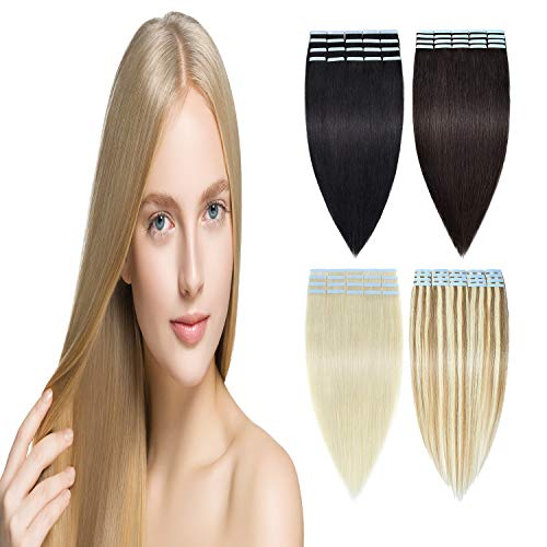 Tape in Hair Extensions Human Hair - 100% Real Remy Hair Extensions Natural...