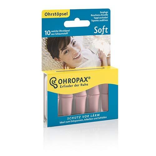 Ohropax Ohrstöpsel SOFT - Anatomisch geformte In-Ohr-Stöpsel aus hautfarbenem Schaumstoff zum Schutz vor Lärm - zum Entspannen, Schlafen und Musik hören - 2x 10 Ohrstöpsel